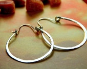 Simple Hammered Silver Hoops - Large