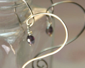 Silver Swirly Heart Earrings with Bead Dangles