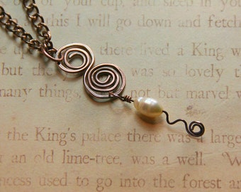 Swirls and Pearls Collection Necklace - Copper and Freshwater Pearl Copper Jewelry