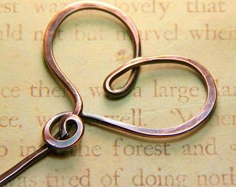 Hammered Copper Swirly Heart Stick Pin - Shawl Pin - Scarf Pin