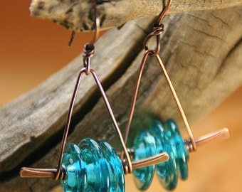 Trapeze Girl Copper Earrings - Teal BlueLampwork Disk on Hammered Copper Copper Jewelry