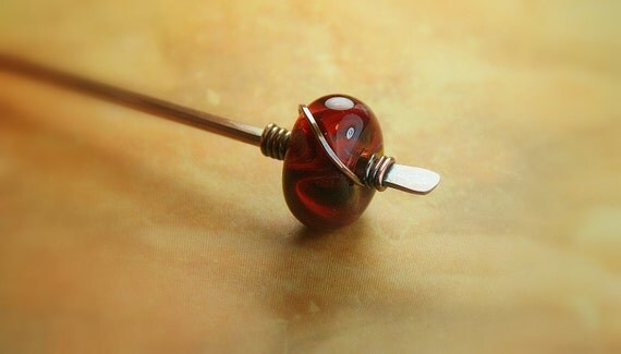 Hammered Copper Stick Pin with Lampwork Bead