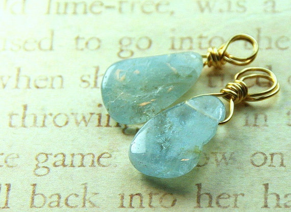 Glacial Ice Beaded Slider - Tumbled Aquamarine Briolette Slider/Dangles (2)