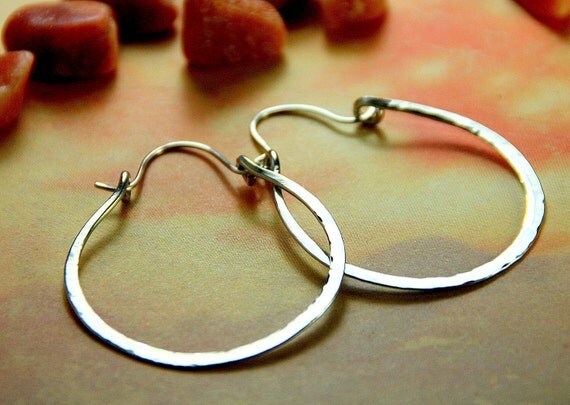 Simple Hammered Silver Hoops - Large Copper Jewelry