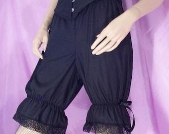 uk size 8 black cotton bloomers goth gothic lolita steampunk burlesque halloween strega dark mori knickers shorts