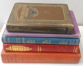 Stack of nice old colorful books small to medium size leather and cloth hardbound books