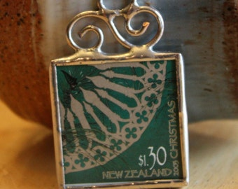 Christmas Postage Stamp Ornament Real Stamp from New Zealand Stained Glass Ornament Decoration