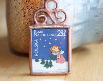 Polish Christmas Stamp Ornament Featuring Little Girl Angel by Ogdenarthaus