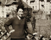 Smiling Young Lady In Bavarian Mountains - Long Shot Vintage Photo - Photo HH