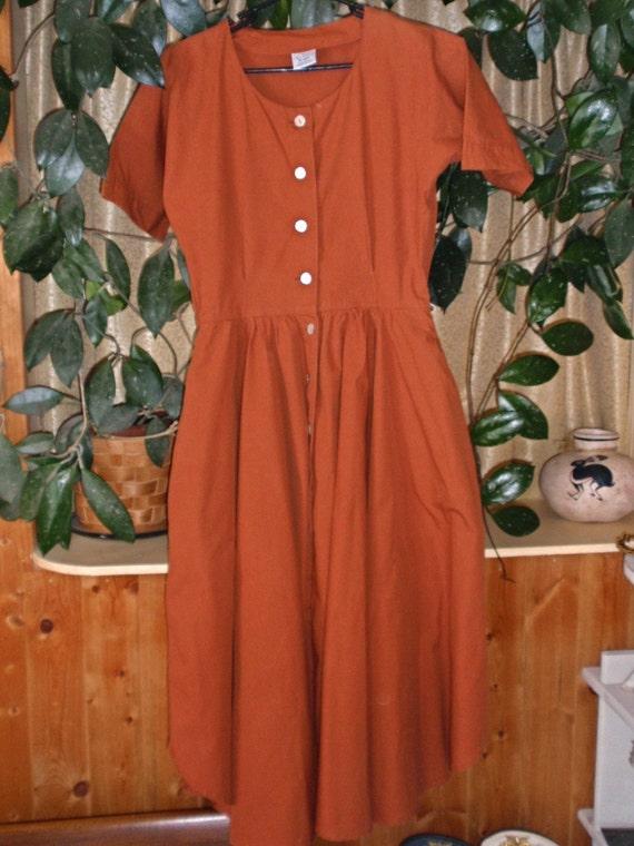 Pumpkin Orange Full Skirt Dress - size Large