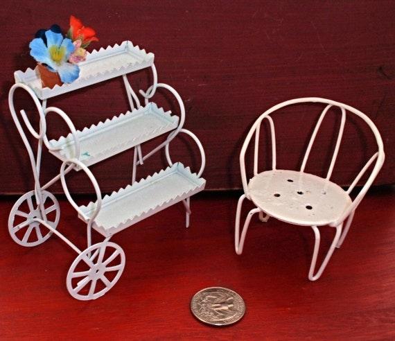 Lot of vintage white metal dollhouse garden furniture for White metal garden furniture