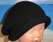 instant digital file pdf download knitting pattern-madmonkeyknits Baby Black Roll Brim Slouch Hat pdf knitting pattern