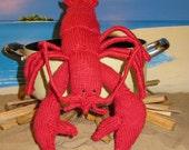 Instant Digital pdf download knitting pattern madmonkeyknits Lottie Lobster Crustacean Toy pdf knitting pattern