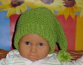 Digital Download Knitting Pattern- Baby Moss Stitch Pixie Bobble Slouch Hat knitting pattern pdf download by madmonkeyknits