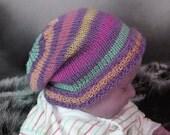 Instant Digital File pdf download Knitting Pattern - Baby Multi Coloured Stripe Slouch hat knitting pattern