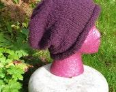 Instant Digital File pdf download knitting pattern - Chunky Roll Brim Slouch Hat knitting pattern pdf download by madmonkeyknits