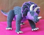 Instant Digital File PDF Download knitting pattern -Tracy Triceratops toy dinosaur pdf download knitting pattern