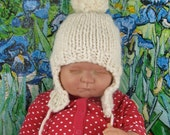 Instant Digital pdf download knitting pattern-Baby Bobble Superfast Trapper  Hat pdf download knitting pattern by MADMONKEYKNITS