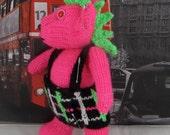 Instant Digital File pdf download knitting pattern-Punk Rocker Teddy Bear Toy knitting pattern pdf download by madmonkeyknits