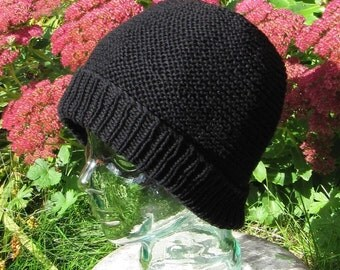Instant Digital File pdf download knitting pattern - garter stitch beanie hat pdf knitting pattern