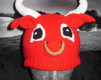 Instant Digital File PDF Download Red Bull Beanie Hat pdf knitting pattern