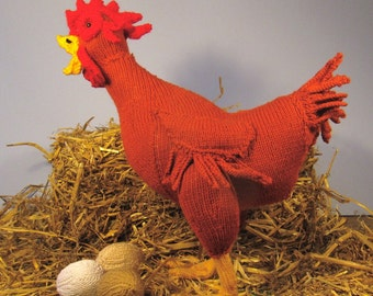 Digital pdf dile madmonkeyknits Hattie Hen and Eggs Easter toy chicken pdf knitting pattern