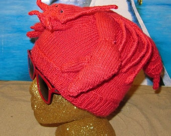 Instant Digital File pdf download Lobster Beanie Hat pdf knitting pattern