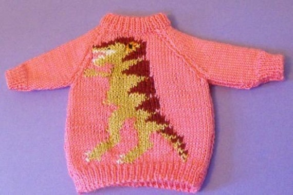 Items similar to Digital pdf file knitting pattern - Tyrannosaurus Rex Dinosa...