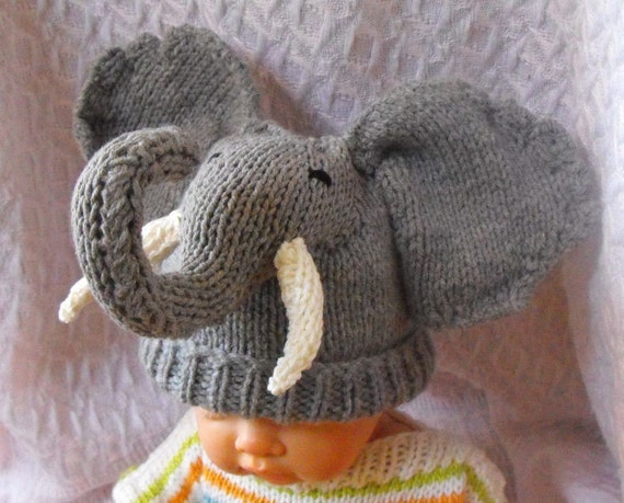 Knitting Pattern For Baby Elephant : BABY BIG EARS ELEPHANT BEANIE HAT PDF KNITTING by madmonkeyknits