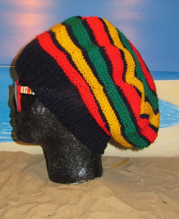 Digital File PDF Knitting Pattern Only- madmonkeyknits Jamaican Tam Rasta Hat pdf knitting pattern