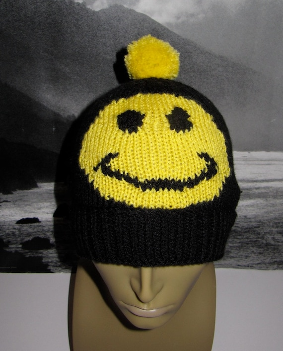 Knitting Pattern-not the hat -Smiley Bobble Beanie smile hat knitting pattern pdf download
