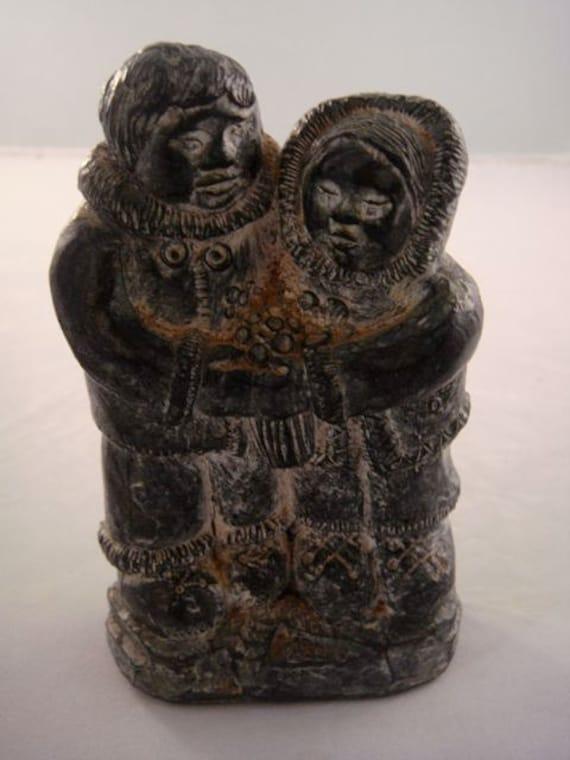 Wolf sculptures original inuit soapstone eskimo husband wife