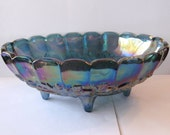 Carnival Glass Fruit Bowl - Blue Irridescent Colors - Oval, Footed