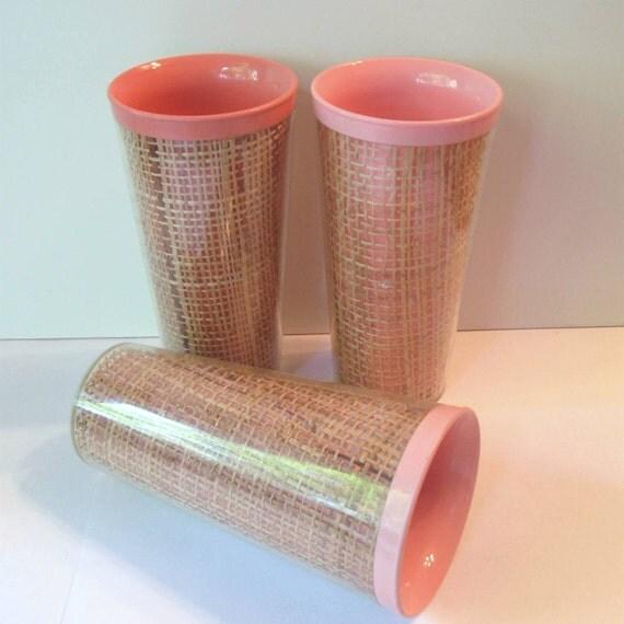 Plastic Burlap Tumblers - Melamine Raffiaware - Pink Hues - Set of 3