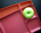 Cafeteria Trays vintage pair red and orange