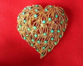 Reserved for Junko     120316-15  Vintage Goldtone Heart With Faux Turquoise Brooch