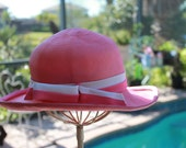 110325-05 Fabulous vintage pink straw hat with a pink and white stripped ribbon from Woodward Lothrop of Washington D.C.