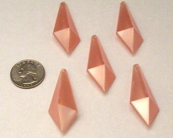 20 Large Pearly Pink Vintage Lucite Pendants