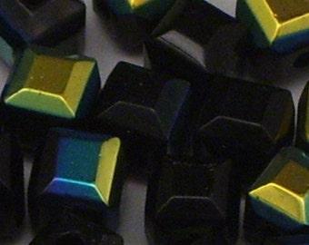 40 6mm Black AB Glass Cube Beads