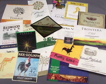 20 Assorted Reclaimed Wine Labels