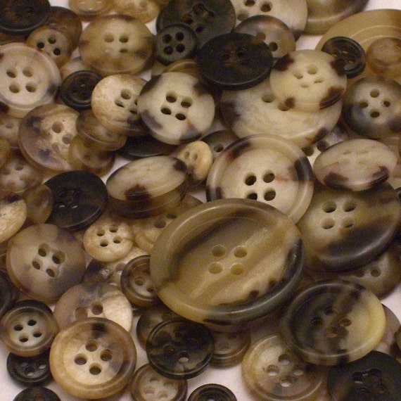 125 Assorted Faux Horn Buttons