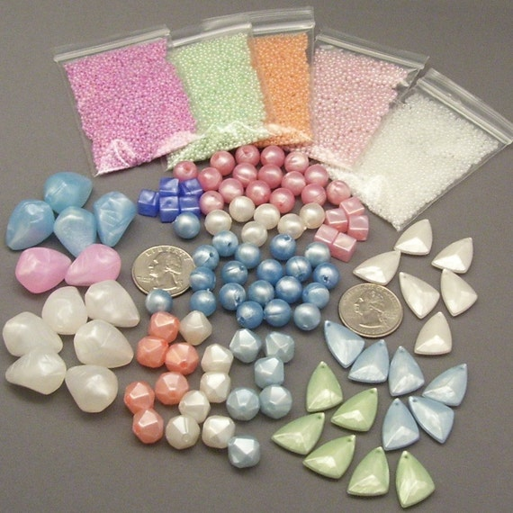 Assorted Pearly Pastel Vintage Lucite and Czech Glass Beads // Beading Inspiration Kit