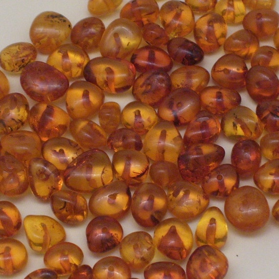85 Amber Nugget Beads