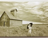 """ON SALE! Approaching Storm large canvas wrap of """"dog person"""" with umbrella standing in prairie"""