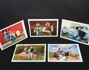 Musical Dogs, 5 blank greeting cards and 5 envelopes, with photos of Boxer dogs wearing clothes and playing music theme