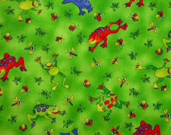 Hoffman 458 Frogs Lime Print Cotton Fabric