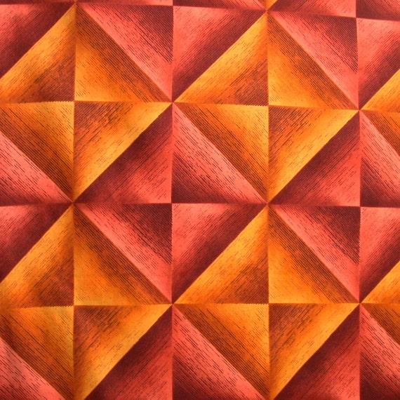 Nancy Crow Gold Rust Squares Cotton Print Fabric