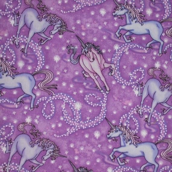 Timeless Treasures 9596 Lavender Unicorns Cotton Print Fabric
