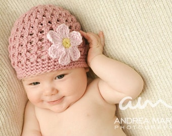 Textured Beanie with Daisy (Crochet Pattern)