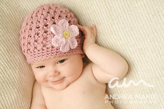 Daisy Crochet Baby Hat Pattern : Textured Beanie with Daisy Crochet Pattern by injenuity on ...